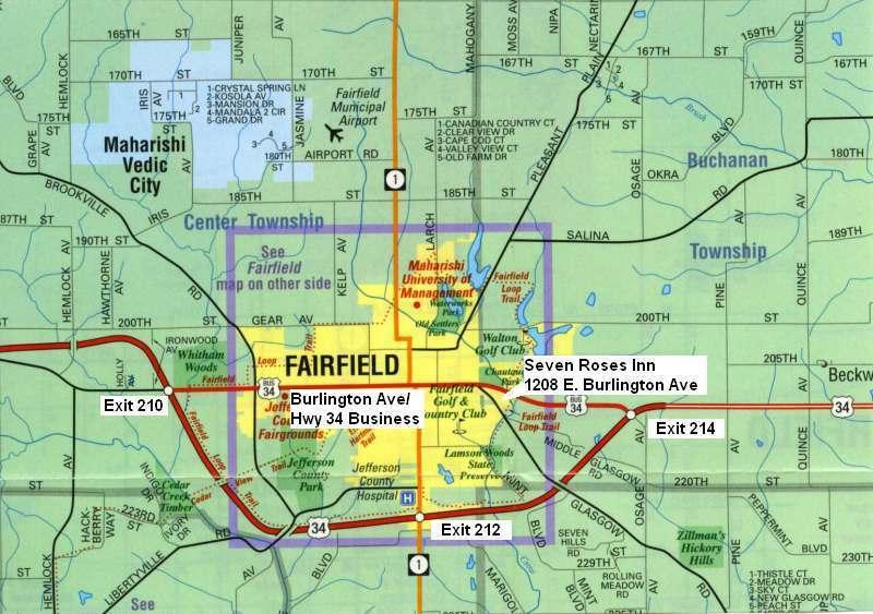 Seven Roses Inn Map Of Fairfield